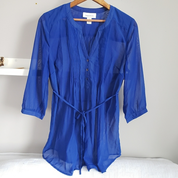 Motherhood Maternity Cobalt Blue Sheer Blouse S